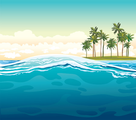 cloudy day: Green coconut island and waves on a blue sea. Vector tropical summer illustration. Illustration
