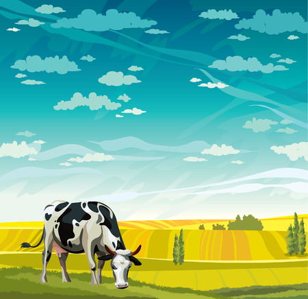 cow cartoon: Herd of cows in green field on a blue sky. Vector rural nature landscape.