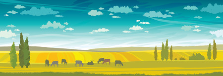 Herd of cows in green field on a sunset sky. Vector rural summer landscape.