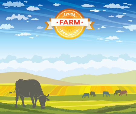 cloudy day: Silhouette of cow and rural landscape on a cloudy blue sky. Vector of fresh farm products.