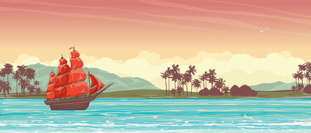 vessel: Traditional old sailboat with red sails and tropical island on a sunset sky.