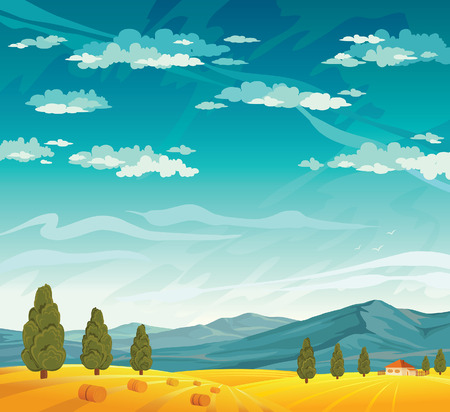 haystack: Rural landscape with yellow field  and mountains on a blue cloudy sky. Summer natural vector. Illustration