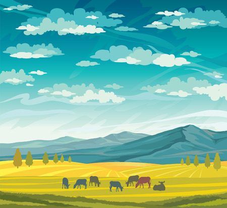 Herd of cows in green meadow on a blue cloudy sky. Vector of rural summer landscape. Illustration