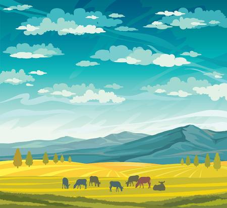 vaca caricatura: Rebaño de vacas en el prado verde en un cielo nublado azul. Vector del paisaje rural de verano. Vectores