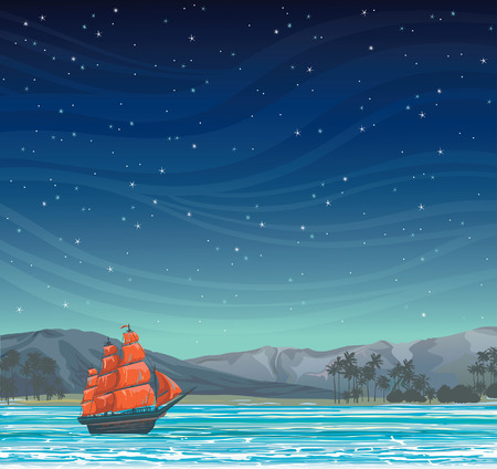 sails: Traditional old sailboat with red sails and tropical island on a starry night sky.