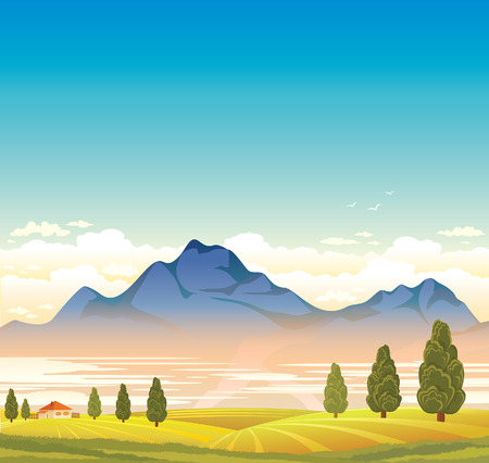 blue green landscape: Rural landscape with blue mountain and green field. Natural summer vector. Illustration