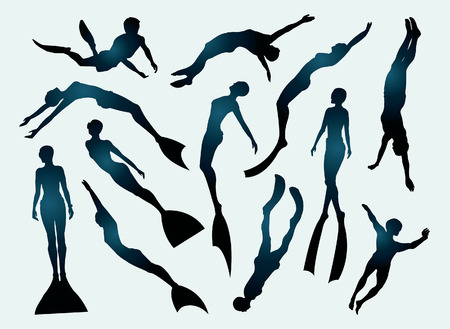 swimming silhouette: Set of free divers silhouette. Underwater sport.