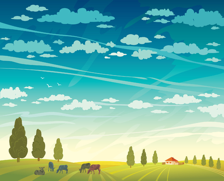 herd: Rural summer landscape - herd of cows and green field with trees on a cloudy sky background. Vector nature illustration. Illustration
