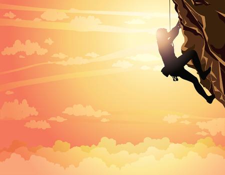 brave of sport: Silhouette of rock climber on a sunset sky. Vector illustration of sport. Illustration