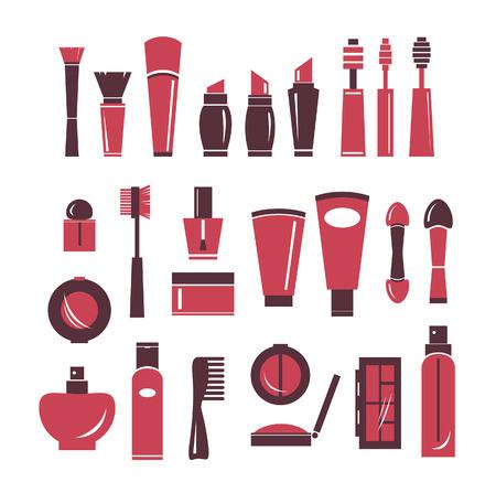 cosmeticos: Colección de iconos de cosméticos. Vector de elementos aislados de cosméticos. Vectores