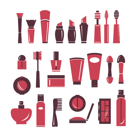 perfume spray: Collection of cosmetics icons. Vector of isolated cosmetics elements. Illustration