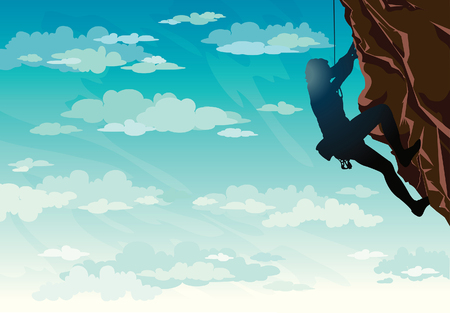sky clouds: Silhouette of rock climber on a blue cloudy sky. Vector illustration of sport.