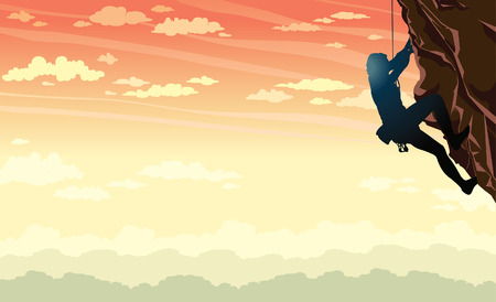 Vector illustration of sport - silhouette of rock climber on a sunset sky background.