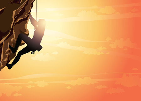 mountain climber: Silhouette of man climbing on a stone wall on the sunset sky background. Vector illustration of sport. Illustration