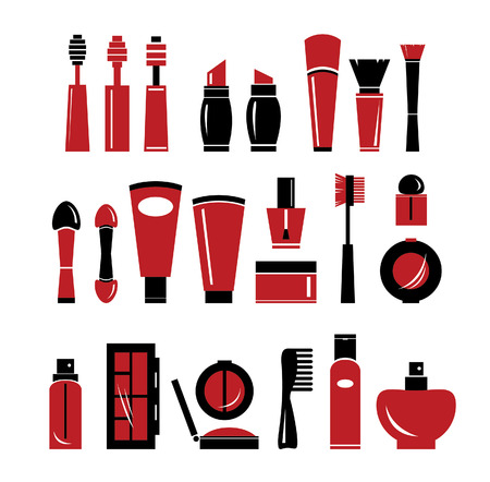 Isolated of cosmetic icons. Vector set with cosmetics elements. 일러스트