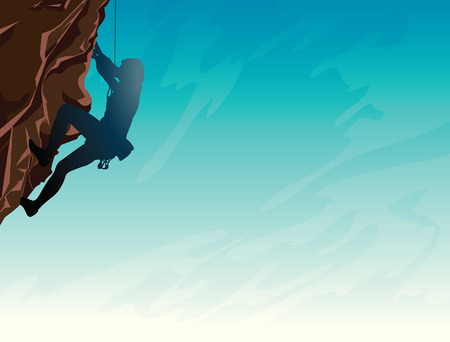 hombre escalando: Silhouette of man climbing on a stone wall on the blue sky background. Vector illustration of sport. Vectores
