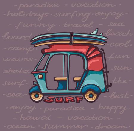 tuk tuk: Cartoon tuk tuk with surfboards. Vector illustration about surfing vacations.