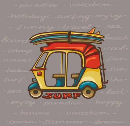 tuk tuk: Cartoon yellow tuk tuk with surfboards. Vector illustration about surfing trip.