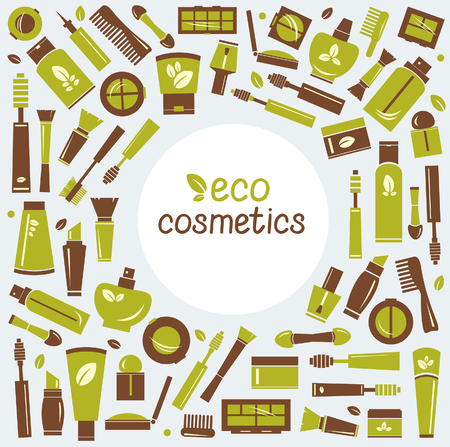 eco icons: Collection of eco cosmetics icons. Vector of isolated cosmetics elements. Illustration