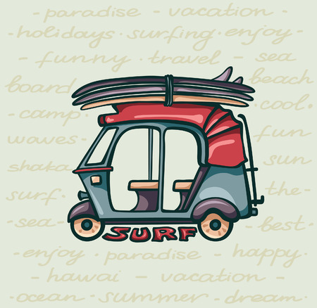 Cartoon tuk tuk with surfboards on yellow background. Card about surfing holiday. Vector