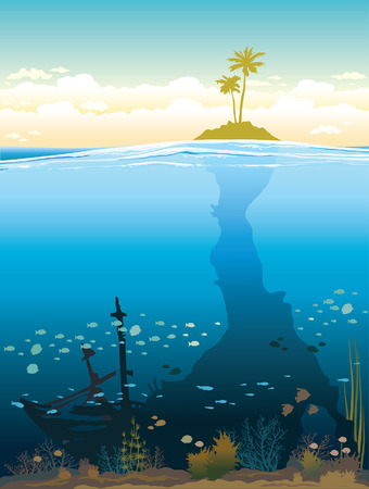 Green island on a cloudy sky and underwater cave with coral reef and fish. Nature tropical vector illustration.