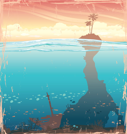 Tropical island with coconut tree and underwater cave with coral reef on a sunset sky. Nature vector illustration. Illustration
