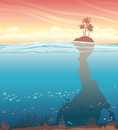 reef: Tropical island with coconut tree and underwater cave with coral reef on a sunset sky. Nature vector illustration. Illustration
