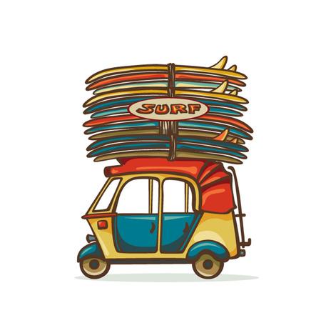 auto rickshaw: Cartoon yellow auto rickshaw with surfboards on a white background. Surfing illustration.