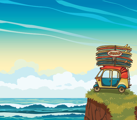cloudy day: Cartoon auto rickshaw with surfboards on a cloudy sky and blue sea. Natural vector illustration about surfing. Illustration