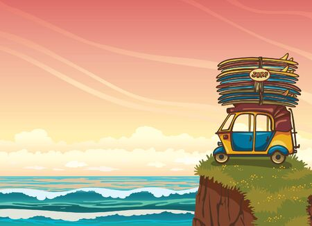 tuk tuk: Yellow auto rickshaw with surfboards and green grass on a blue ocean with waves. Natural vector illustration about surfing.
