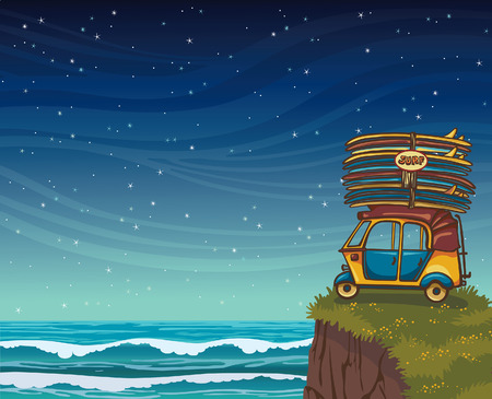 waves ocean: Yellow auto rickshaw with surfboards and green grass on a blue night ocean with waves. Natural vector illustration about surfing.