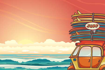 rickshaw: Cartoon auto rickshaw with surfboards on a sunset sky and blue ocean. Vector illustration about surfing.