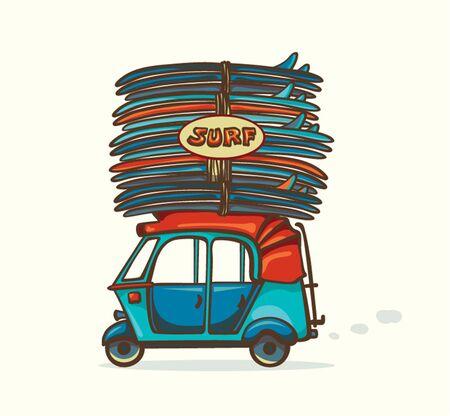 auto rickshaw: Cartoon blue auto rickshaw with surfboards. Vector illustration about surfing. Illustration
