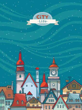 city by night: Cartoon city view with red roof on the night starry sky. Urban vector landscape. Illustration