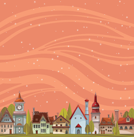 red sunset: City view landscape with houses and green trees on a starry sky background. Urban vector landscape. Illustration