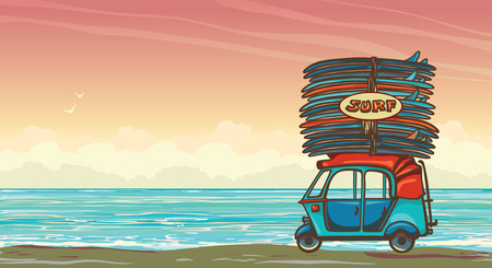 auto rickshaw: Cartoon auto rickshaw with surfboards on a sunset sky and blue ocean. Vector illustration about surfing.