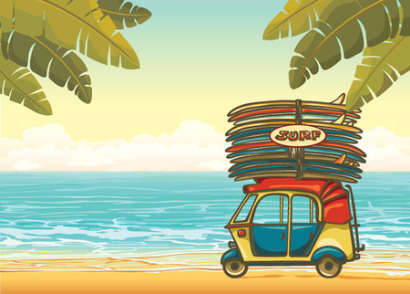 Yellow auto rickshaw with surfboards on a tropical beach with palm leaves and blue ocean. Vector illustration about surfing.