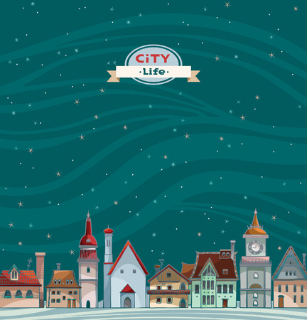 cloudy night sky: Cartoon city view with red roof on a night starry sky background. Urban vector landscape.