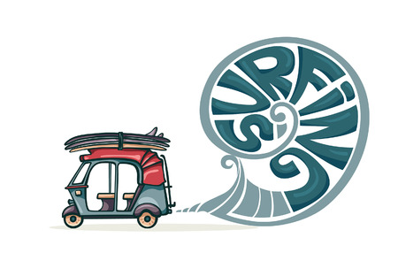 tuk tuk: Cartoon auto rickshaw with surfboards and blue smoke. Vector illustration about surfing.