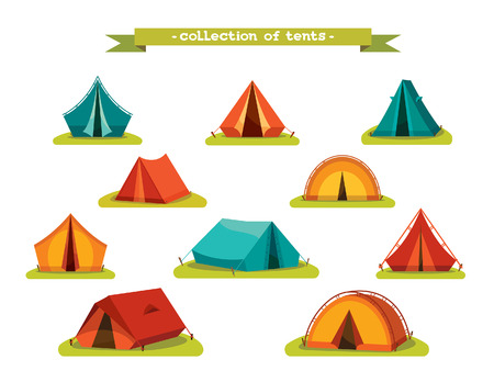 camping tent: Set of tourist tents. Vector illustration - collection of camping tent icons.