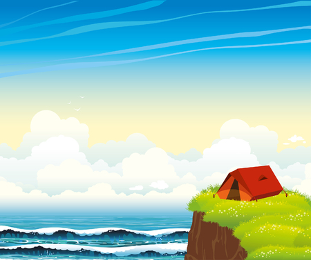 summer nature: Summer landscape - red tourist tent with green grass and blue sea on a cloudy sky background. Nature vector illustration. Illustration
