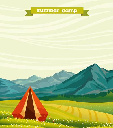campamento: Tienda turística Roja y prado en flor verde en un cielo nublado. Campamento de verano. Paisaje natural del vector.