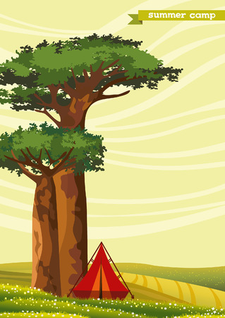 baobab: Red tourist tent and two baobabs on a green meadow. Summer camp. Natural vector landscape. Illustration