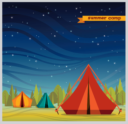 Summer camp - red tourist tent on a night starry sky