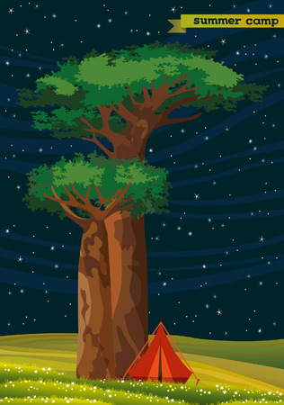 travel star: Red tourist tent and two green baobabs on a night starry sky