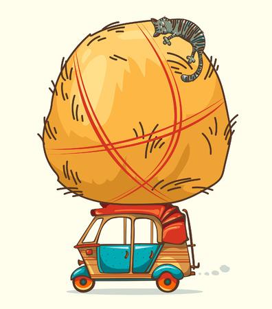 sleeping car: Funny cartoon image - auto rickshaw (tuk-tuk) and haystack with sleeping cat.