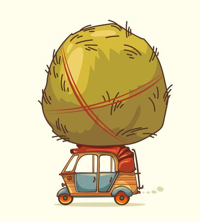 rikscha: Auto-Rikscha und Heuhaufen Illustration