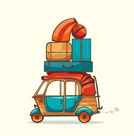 rikscha: Cartoon Auto-Rikscha mit Sommer laggage Illustration