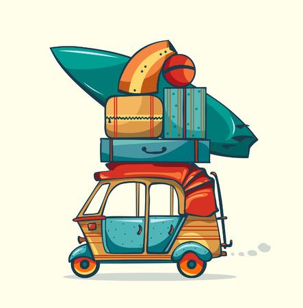 summer cartoon: Cartoon auto rickshaw with summer luggage
