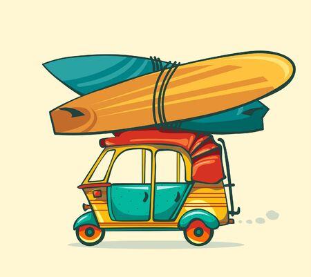 rikscha: Cartoon Auto-Rikscha mit Surfbrettern auf einem gelben Hintergrund